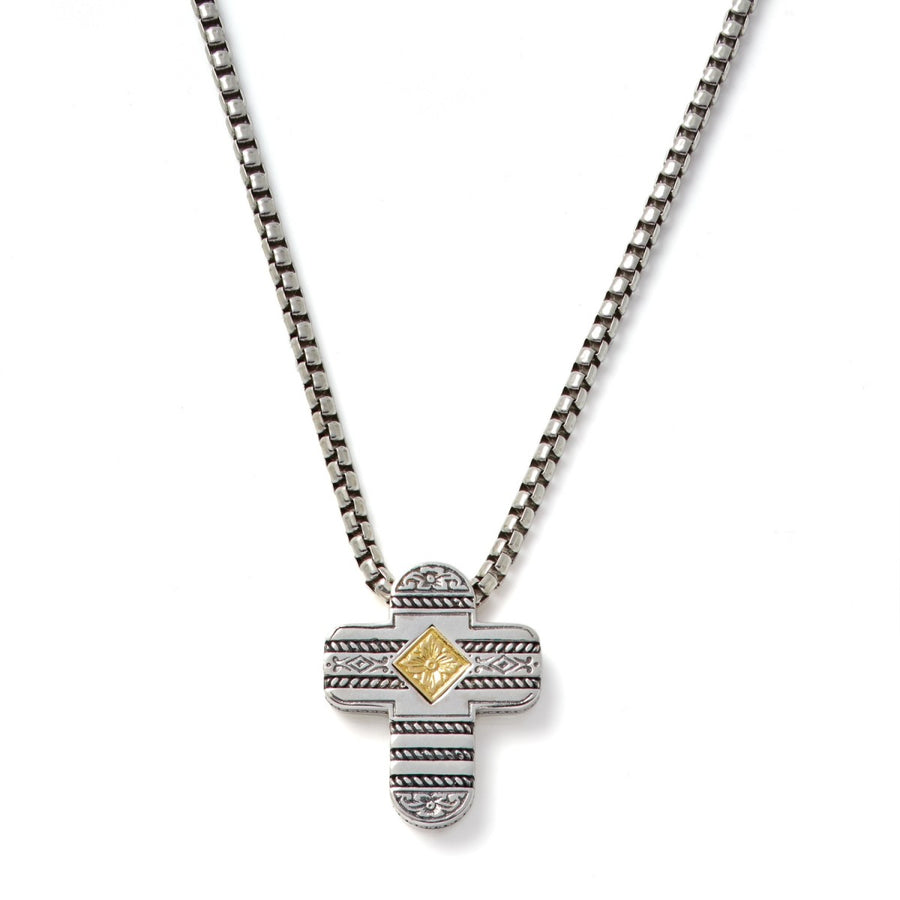 Konstantino Men's Sterling Silver & 18K gold Cross Necklace