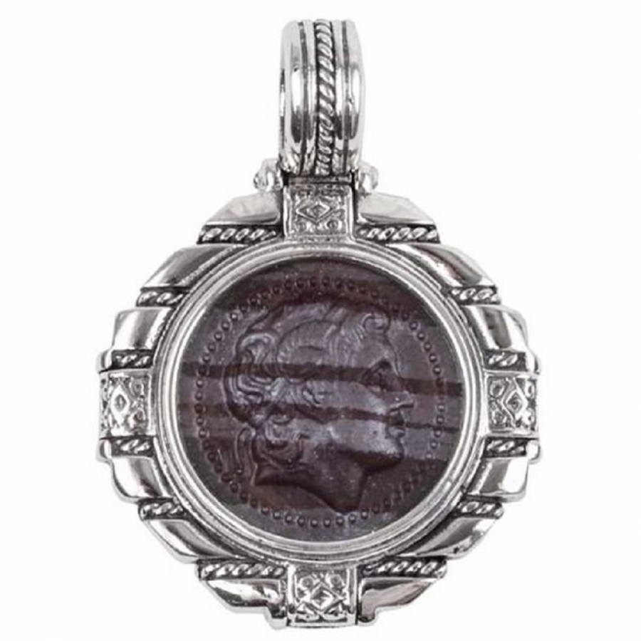 Konstantino Men's Sterling Silver Ferrite Carved Pendant