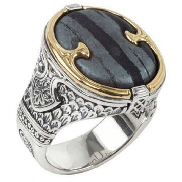 Konstantino Men's Sterling Silver & 18K Gold Ferrite Rectangle Ring