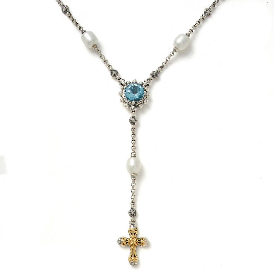 Konstantino Women's Blue Topaz Rosary Necklace, 16 IN
