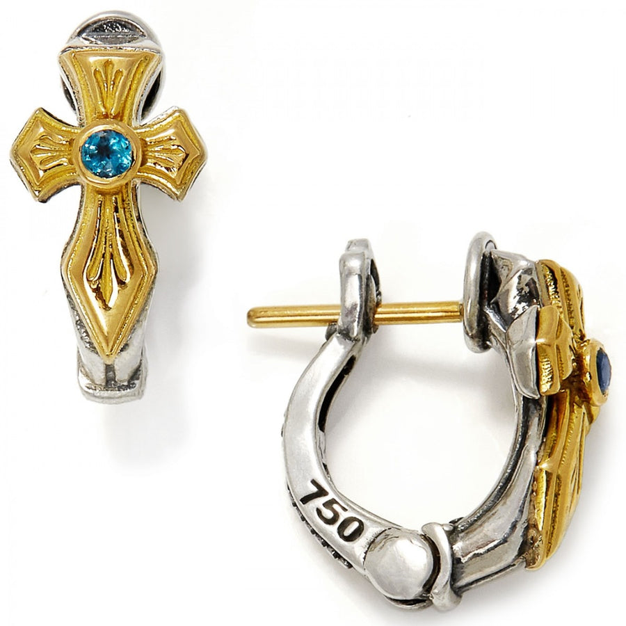 Konstantino Women's Sterling Silver & 18K Gold Tsavorite Cross Earrings