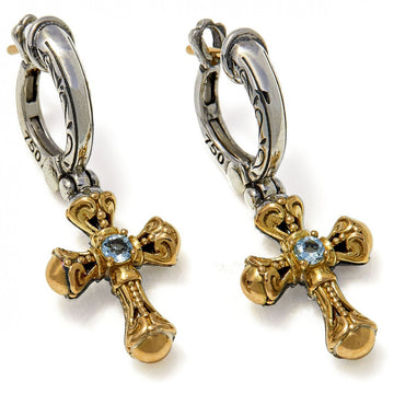 Konstantino Women's Aquamarine Cross Earrings