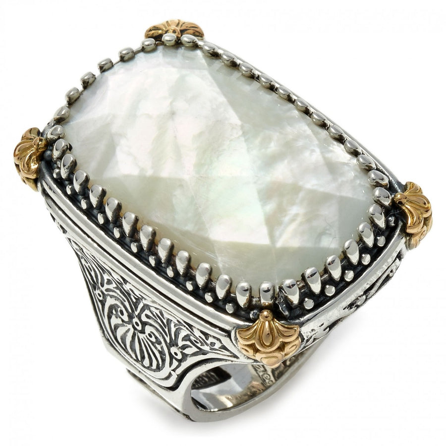 Konstantino Women's Sterling Silver, Mother of Pearl & 18K Gold Ring