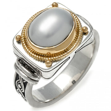 Konstantino Women's Sterling Silver, 18k Gold and Pearl Ring