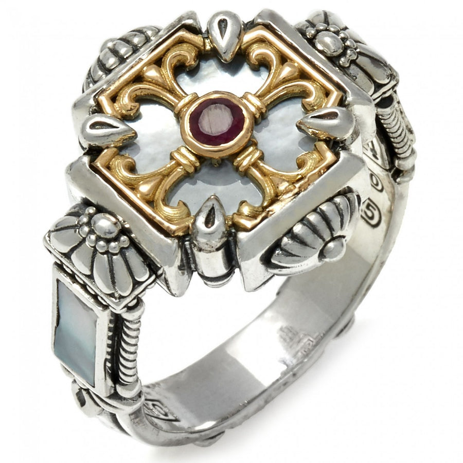 Konstantino Women's Sterling Silver, Ruby, Mother of Pearl & 18k Gold Ring