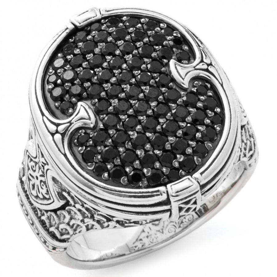 Konstantino Men's Sterling Silver Pave Spinel Shield Oval Ring, Size 10