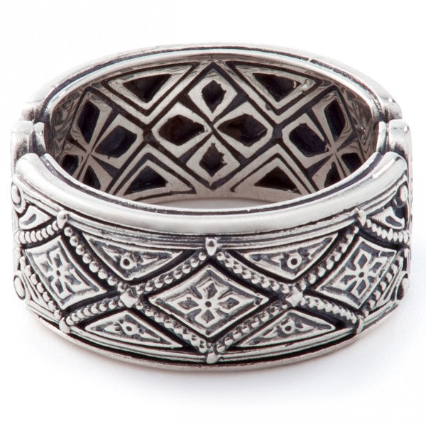 Konstantino Men's Sterling Silver Diamond Pattern Ring