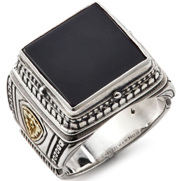 Konstantino Men's Sterling Silver and Onyx Ring, Size 10