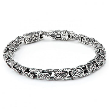 Konstantino Men's Sterling Silver with Carved Oval Links Bracelet