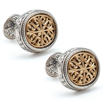 Konstantino Men's Sterling Silver and 18k Gold Filligree Cufflinks