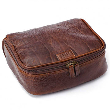 Moore and Giles American Bison Leather Donald Toiletries Kit, Brown - upscaleman.myshopify.com