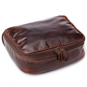 Moore and Giles Leather Donald Dop Luxury Toiletries Kit, Brown - upscaleman.myshopify.com