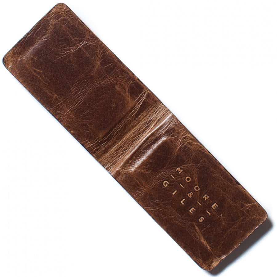 Moore and Giles Leather Money Clip, Brown