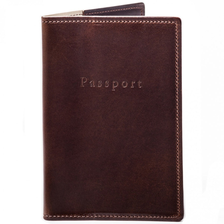 Moore and Giles Leather Passport Cover in Brompton Brown