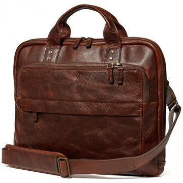 Moore and Giles Jay Modern Briefcase in Titan Milled Brown
