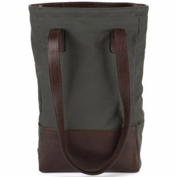 Moore and Giles Petty Bottle Tote Ventile Olive and Titan Milled Brown