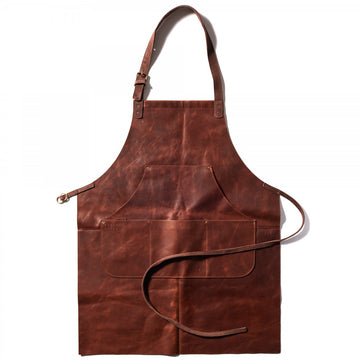 Moore and Giles Capps Leather Work Apron in Baldwin Oak Brown
