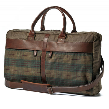 Moore and Giles Tinsley Trifold Carry On, Waxwear Autumn Plaid and Baldwin Oak