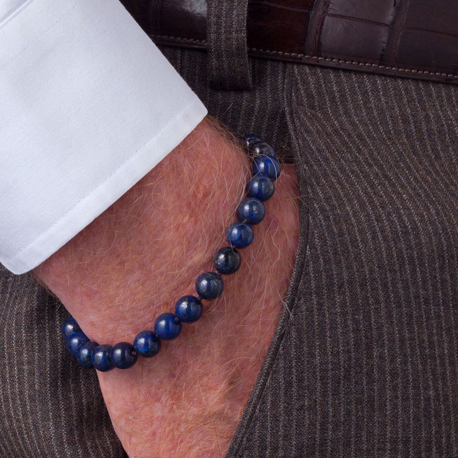 Scott Kay Men's Blue Bracelet, 8mm Lapis Lazuli Beads with Sterling Silver Engraved Clasp, 8 Inches