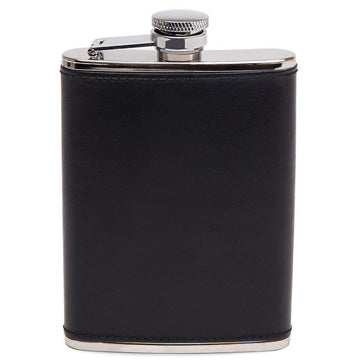 Ettinger Lifestyle Collection Captive Top Leather Bound Hip Flask, 6 Ounces   Black and Silver