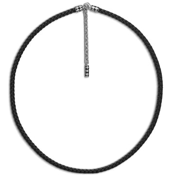 John Hardy Dot Collection Sterling Silver and Black Leather Necklace - upscaleman.myshopify.com