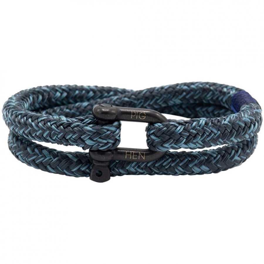 Pig & Hen Men's Bracelet Salty Steve, SkyBlue-Slate Gray with Black Clasp