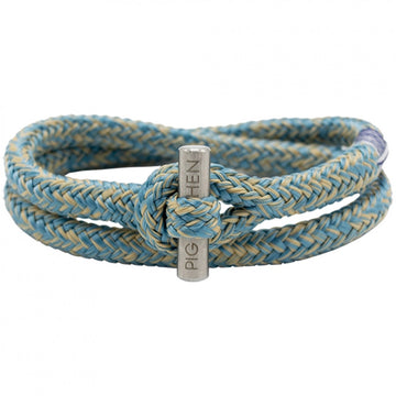 Pig & Hen Men's Bracelet Tiny Ted, SkyBlue-Sand with Silver Clasp