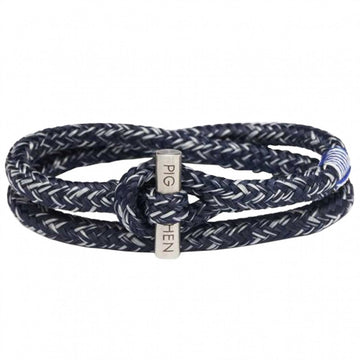 Pig and Hen Men's Tiny Ted Rope Bracelet, Navy