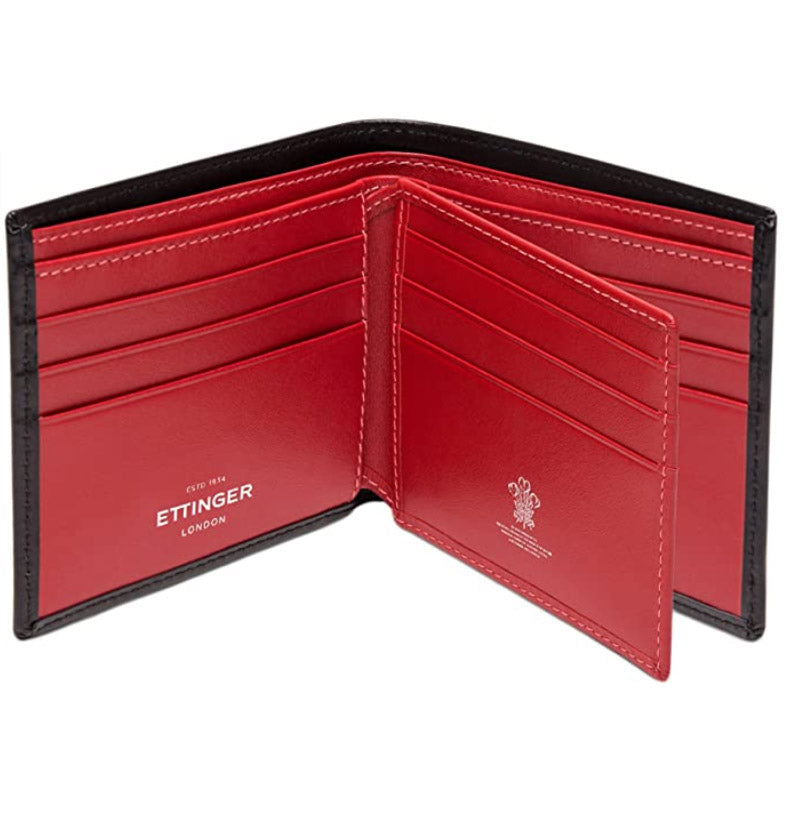 Ettinger Sterling Collection Billfold with 12 Credit Card Slips, Black/Red