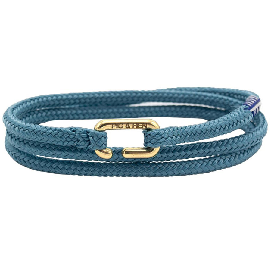 Pig & Hen Men's Savage Sam Rope Bracelet, Sky Blue