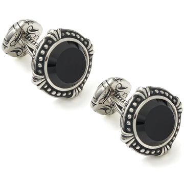 Scott Kay Sparta Black Onyx and Hammered Silver Cufflinks