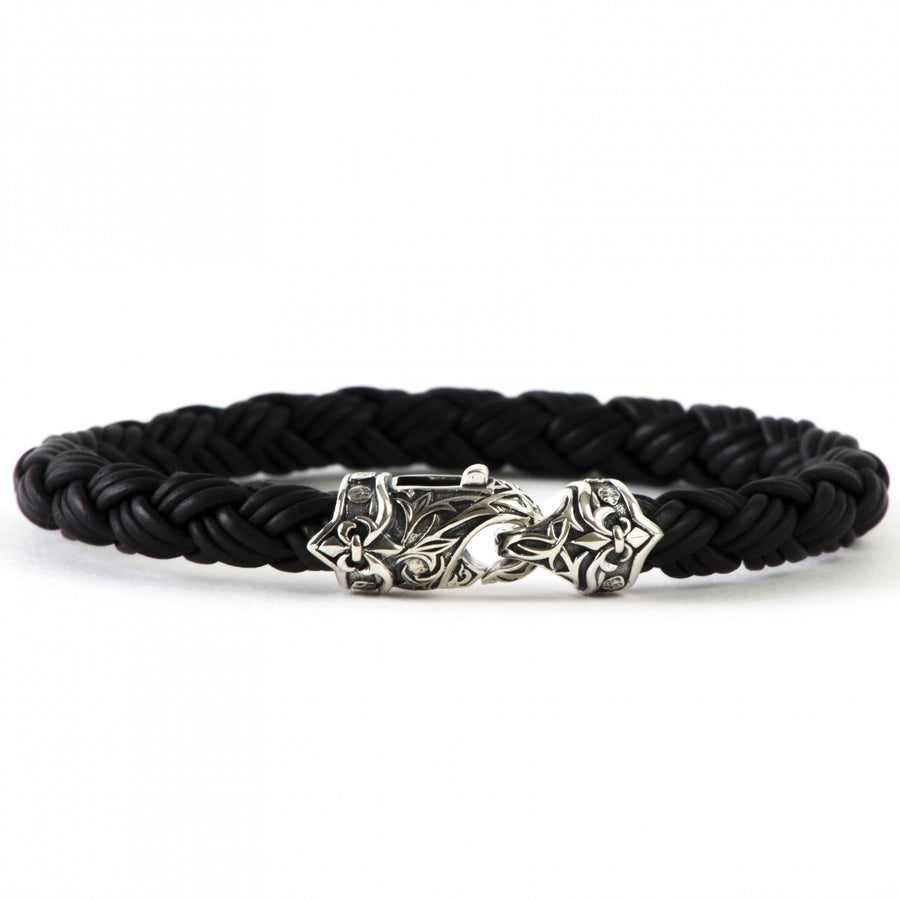 Scott Kay Equestrian Black and Silver Men's Bracelet, Leather with Sterling Silver Clasp