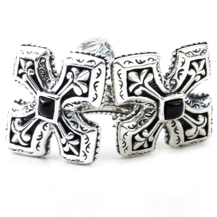 Scott Kay Sterling Silver and Black Onyx Small Engraved Cross Cufflinks