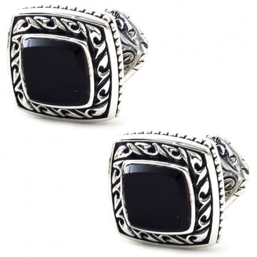 Scott Kay Sterling Silver Black Cufflinks, Onyx Stone