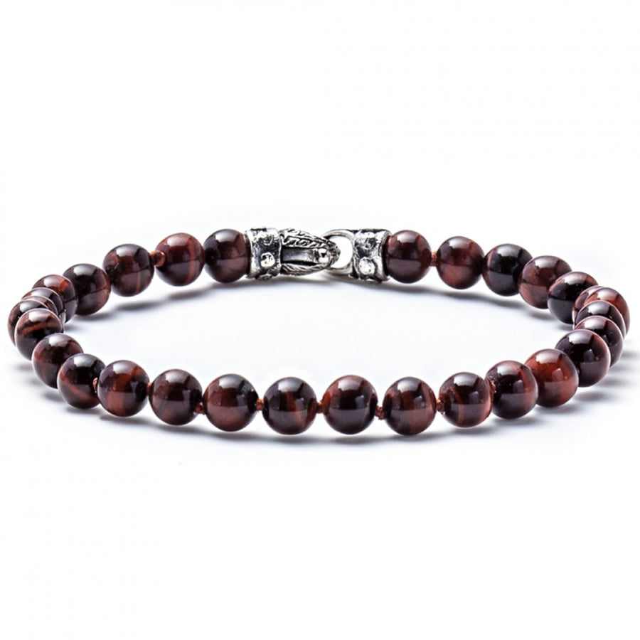 Scott Kay Red Tigers Eye Small Beaded Bracelet with Sterling Silver Engraved Clasp