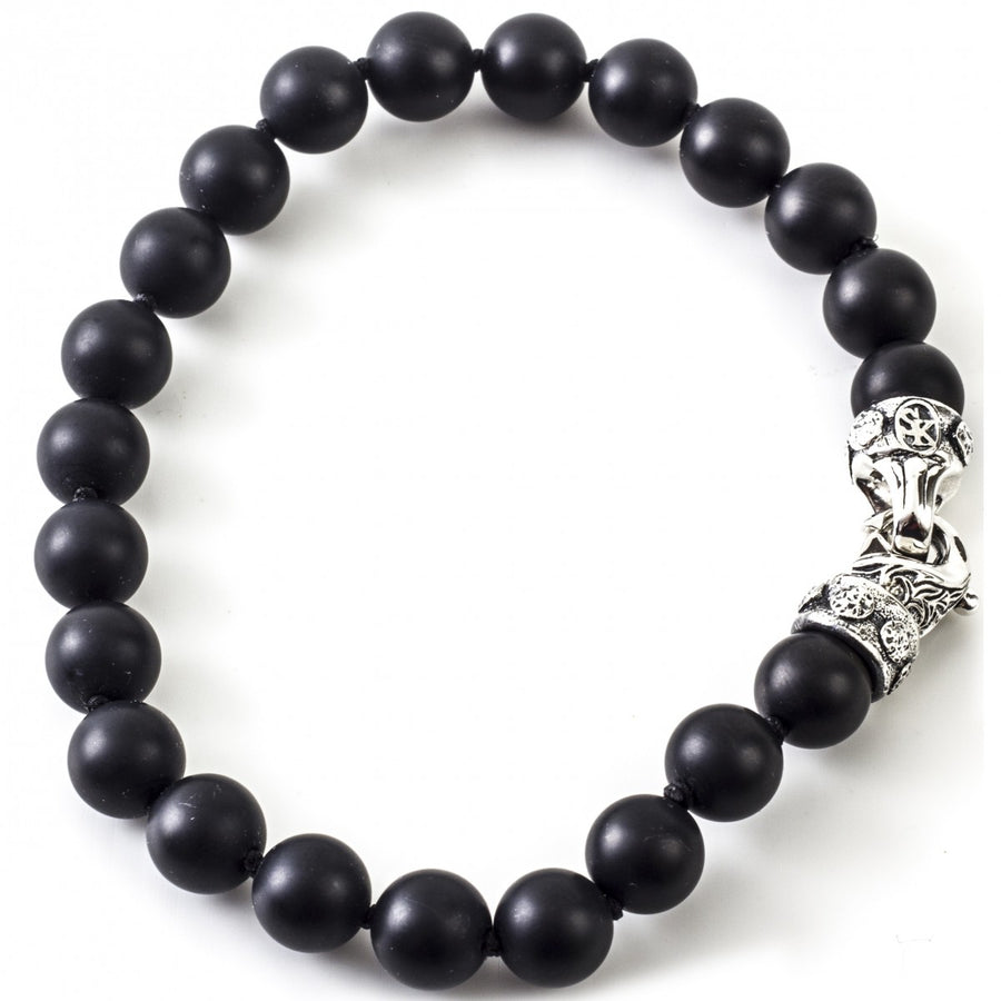Scott Kay 8mm Black Onyx Bead Men's Bracelet with Sterling Silver Clasp