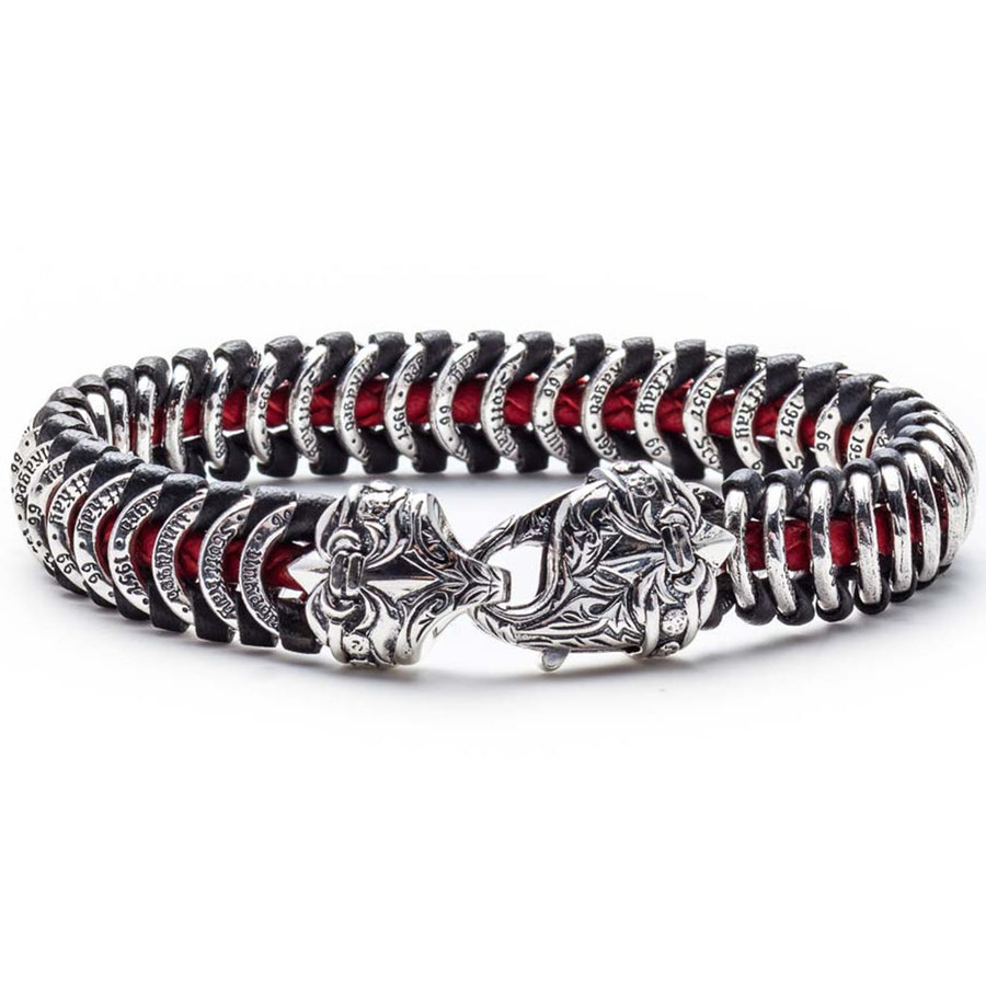 Scott Kay Men's Samurai Red Cord Bracelet, Leather and Sterling Silver, 8.25 Inches
