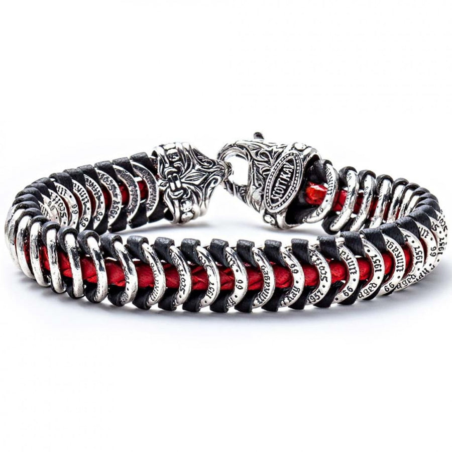 Scott Kay Men's Samurai Red Leather Bracelet, Sterling Silver