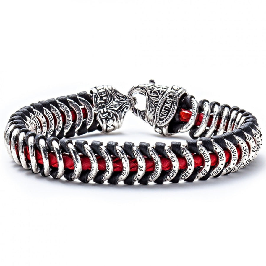 Scott Kay Men's Leather and Sterling Silver Samurai Warrior Bracelet - 9 IN, Silver/Red