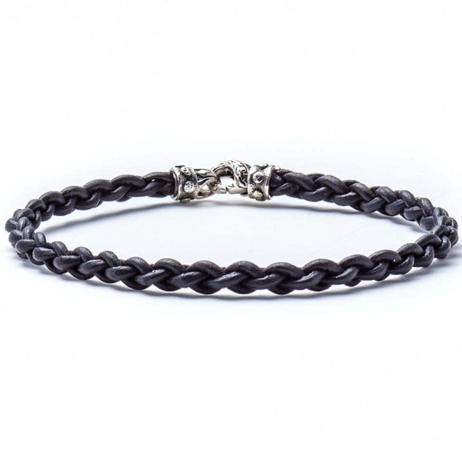 Scott Kay Men's Thin Leather Bracelet, Black and Sterling Silver Clasp, 8.5 Inches