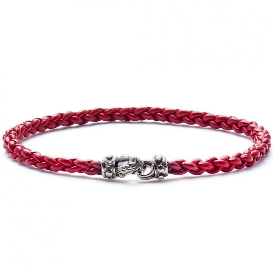Scott Kay Men's Red String Bracelet, Leather and Sterling Silver Clasp, 8.5 Inches