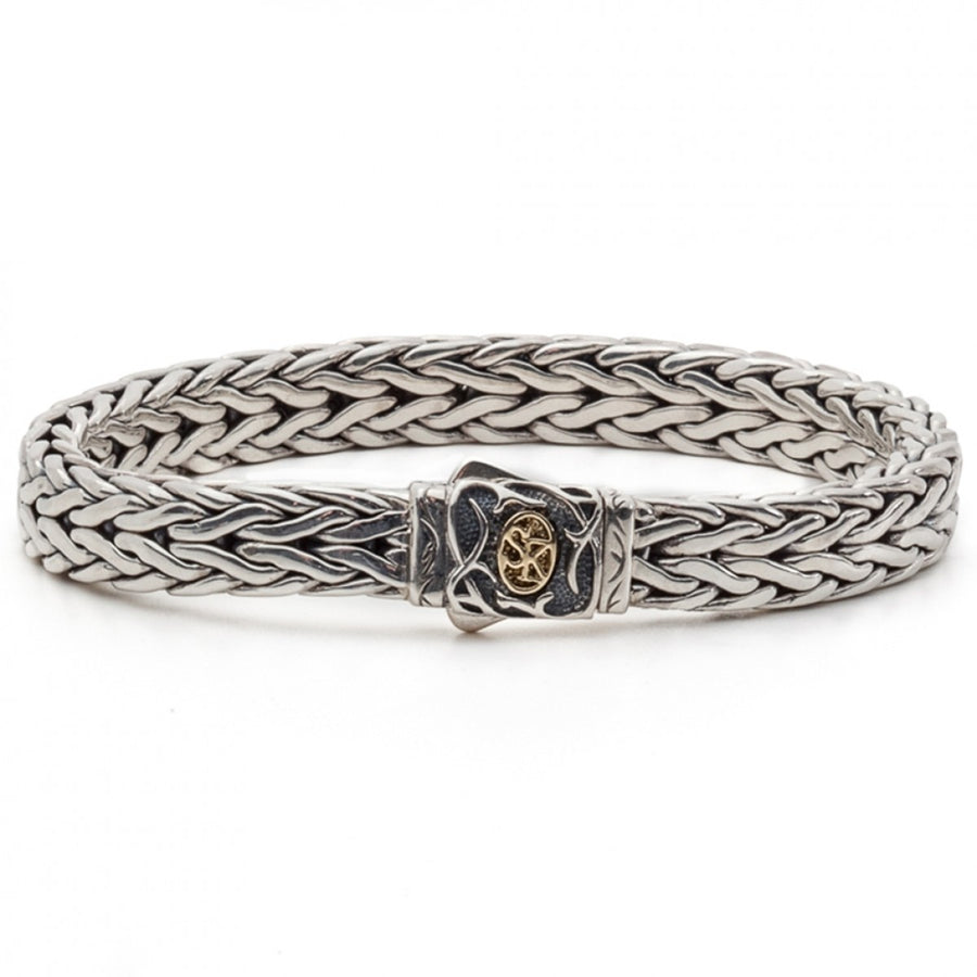 Scott Kay 9mm Straight Doberman Sterling Silver Link Chain Bracelet with 18K Gold Accent on Clasp