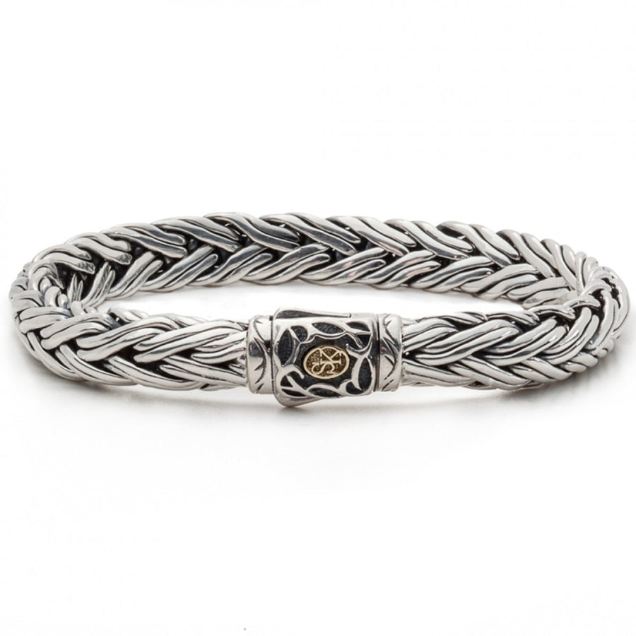 Scott Kay 9mm Domed Equestrian Sterling Silver Rope Bracelet with 18K Gold Accent on Clasp