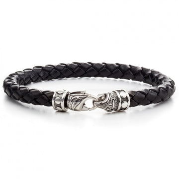 Scott Kay 6mm Black Braided Bracelet with Sterling Clasp