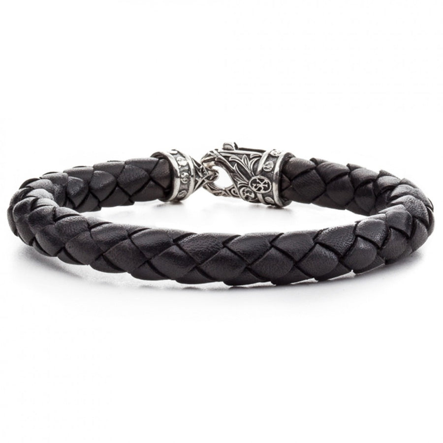 Scott Kay 8mm Black Braided Bracelet with Sterling Riveted Clasp