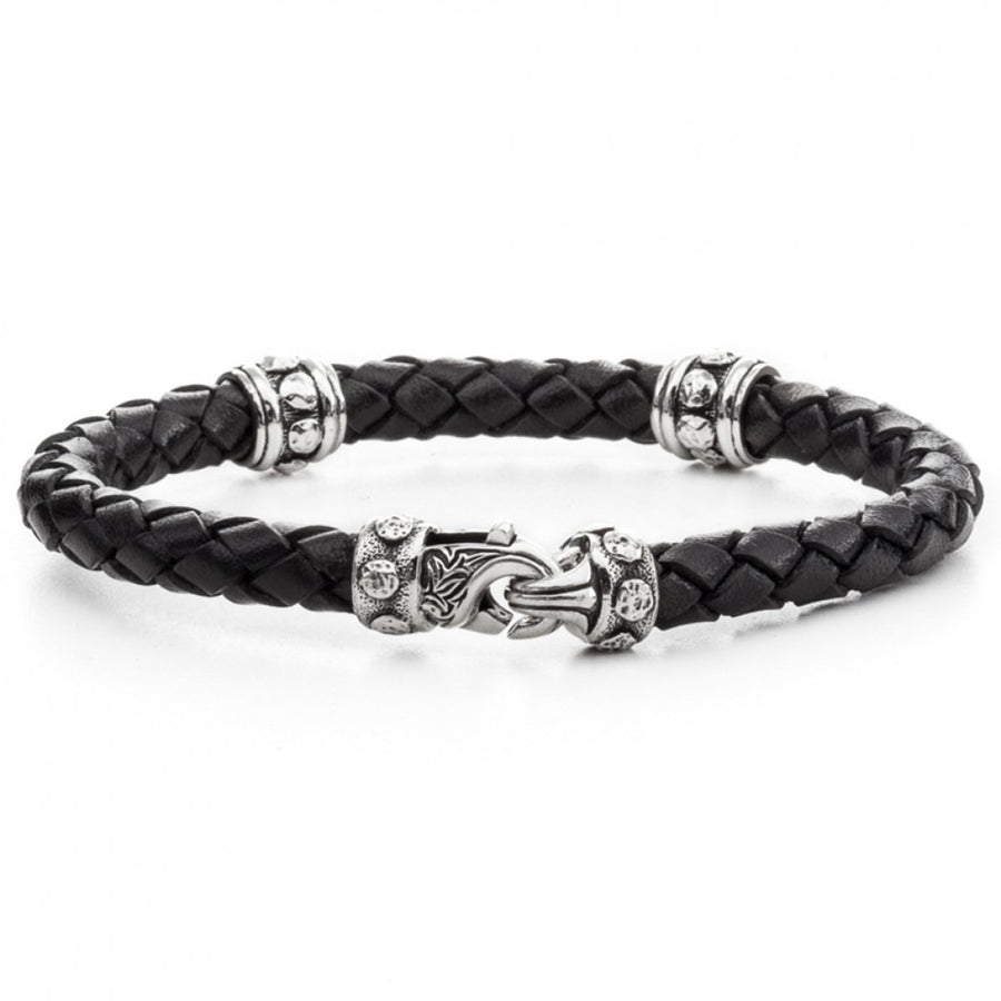 Scott Kay 6mm Black and Silver Bracelet, Woven Leather with Bolted Stations and Clasp