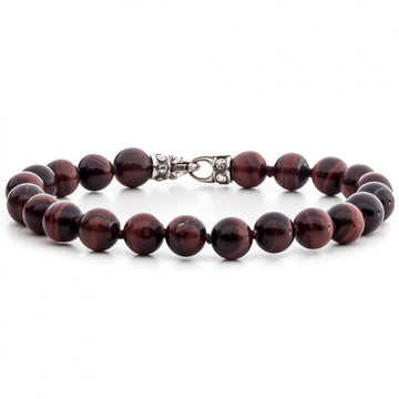 Scott Kay 8mm Tigers Eye Red and Black Bracelet with Sterling Silver Clasp, 8.5 Inches
