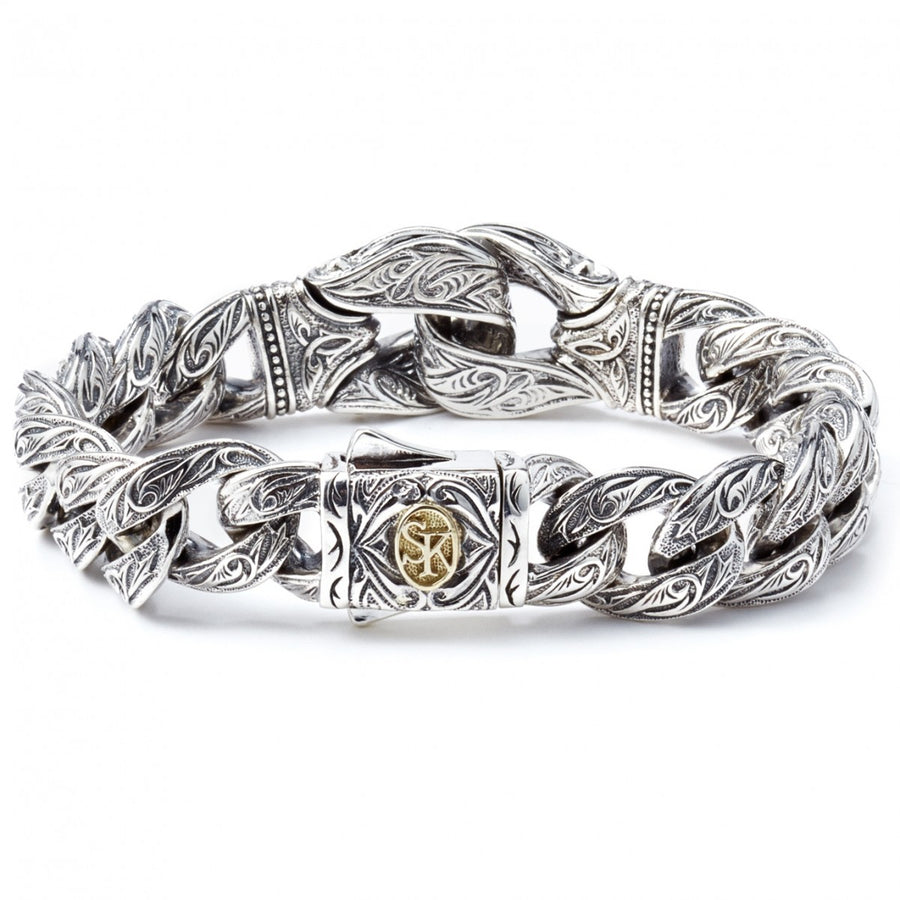 Scott Kay Chunky Sterling Silver Link Bracelet with 18k Gold Accent on Clasp, Guardian Collection