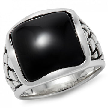 Scott Kay Equestrian Men's Black Onyx Ring, Interwoven, 18mm