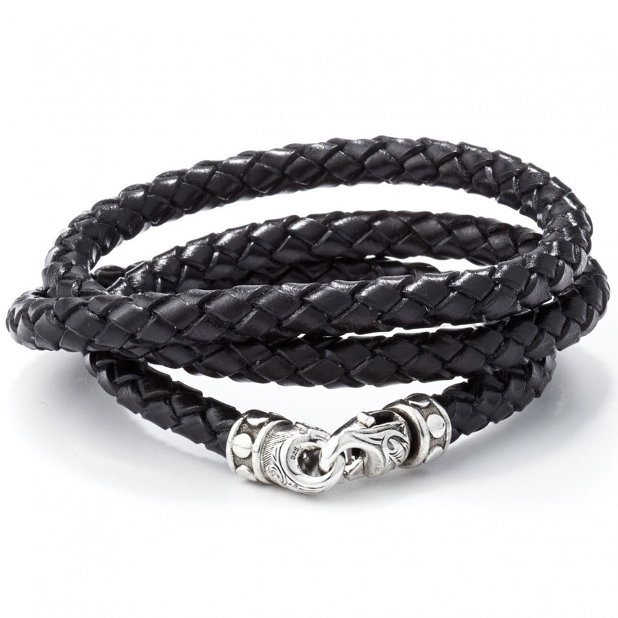 Scott Kay Triple Wrap Black Cord Bracelet, Woven Leather